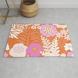 Abstract Vintage Large Florals Meadow Red Pink Orange White Pattern Rug