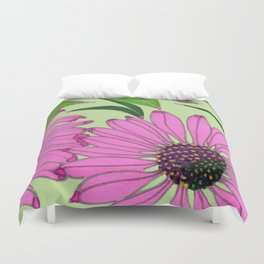 Echinacea on Pistachio Duvet Cover
