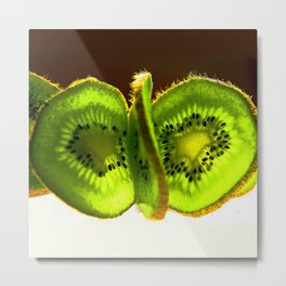 Bright Slices of Kiwi Fruit Abstract Metal Print