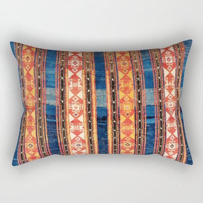 Shahsavan Moghan Caucasian Striped Rug Print Rectangular Pillow