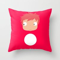 ponyo Throw Pillows featuring Ponyo likes you! by Mariotaro