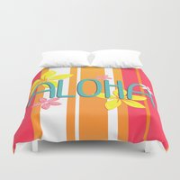 aloha Duvet Covers featuring Aloha by Claire Lordon