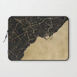 Toronto Gold and Black Street Map Laptop Sleeve
