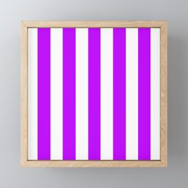 Electric purple - solid color - white vertical lines pattern Framed Mini Art Print