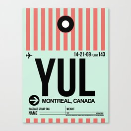 YUL Montreal Luggage Tag 2 Canvas Print