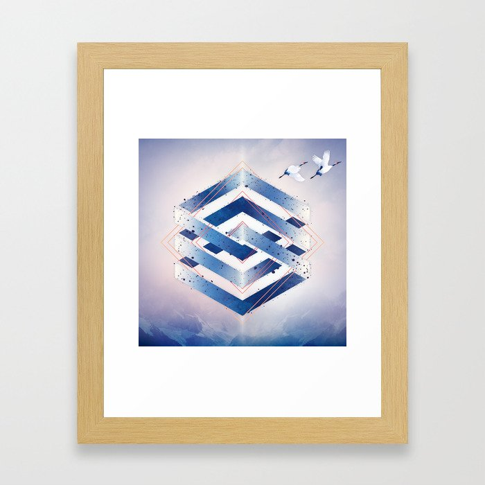 Indigo Hexagon :: Floating Geometry Framed Art Print