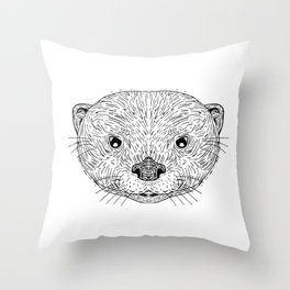 Asian Small-Clawed Otter Head Drawing Throw Pillow
