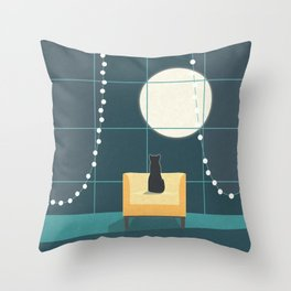 Cat and the Moon Throw Pillow