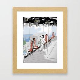 woman in bar Framed Art Print
