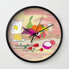 Still Life Fruit with Plastic Bag Wall Clock