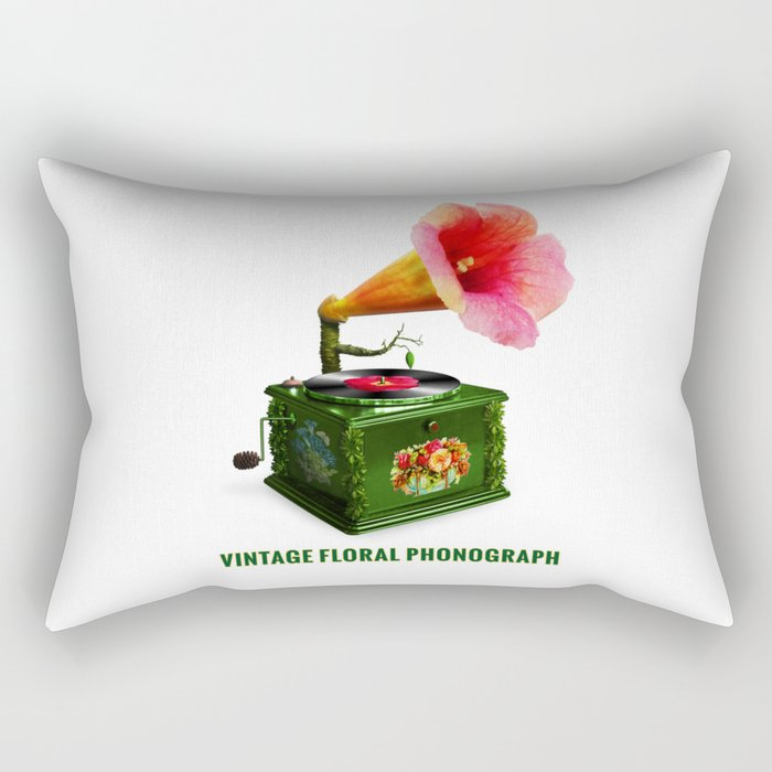 ORGANIC INVENTIONS SERIES: Vintage Floral Phonograph Rectangular Pillow