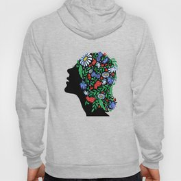 Female head with abstract flowers Hoody