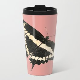 Butterfly Illustrated Print Metal Travel Mug