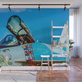 Modern Fighter Plane. Open Canopy. Red Ladder. Invitation To Flight Wall Mural