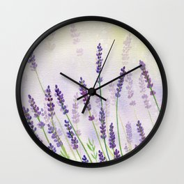 Lavender Flowers Watercolor Wall Clock