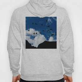 Sky, Face Profile Mountains and Black Birds Hoody