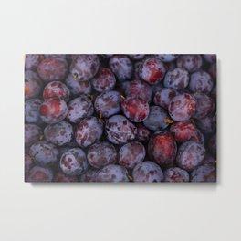Purple plums fruit pattern Metal Print