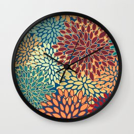 Colorful Floral Prints, Red, Teal, Yellow, Orange, Abstract Art Wall Clock