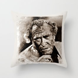 BUKOWSKI - people QUOTE #2 - sepia Throw Pillow