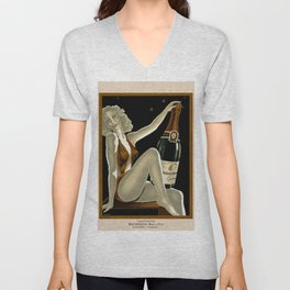 Vintage 1930 Bourgeois Pre-fils Champagne Lithograph Advertisement Poster Unisex V-Neck