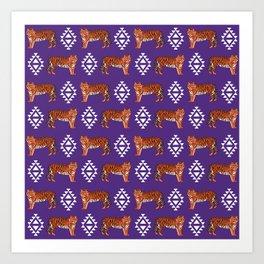 Tiger Clemson purple and orange university fan varsity college football Art Print