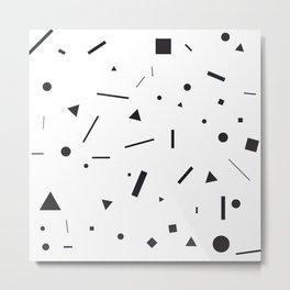 Black shapes on white Metal Print