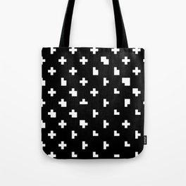 Black cris cross glitch Tote Bag