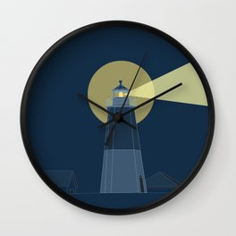 Lighthouse at Night Beach Decor Illustrated Print Wall Clock