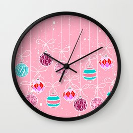 Girly Pink Teal Glam Christmas Ornaments and Snow Wall Clock