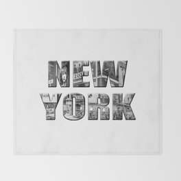 New York  B&W typography Throw Blanket