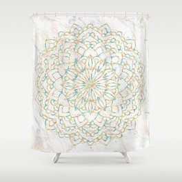 Marble Mandala Sea Shimmer Gold + Turquoise Shower Curtain