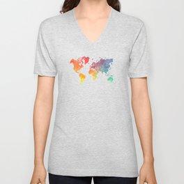 map of the world full of colors Unisex V-Neck