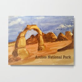 Delicate Arch Watercolor, Arches National Park Metal Print