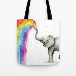 Baby Elephant Spraying Rainbow Tote Bag