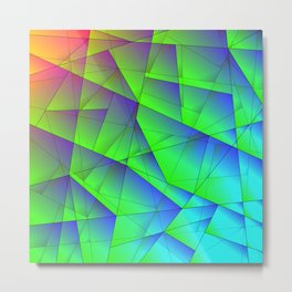 Bright fragments of crystals on irregularly shaped green and purple triangles. Metal Print