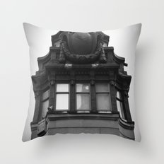 Black and White Top of Chicago River Boat House Photography Throw Pillow