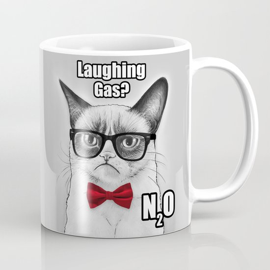 Grumpy Chemistry Cat Geek Science Meme Whimsical Animals in Glasses Mug
