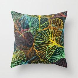 Ginkgo Biloba Leaves in Retro Rainbow Throw Pillow