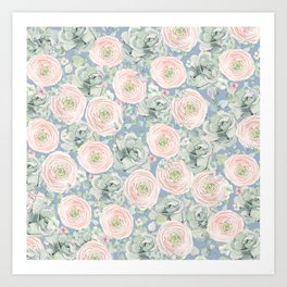 Flowers And Succulents Light Blue Art Print