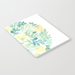 Yellow and Blue Floral Circle Notebook
