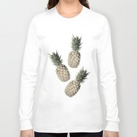 pineapples Long Sleeve T-shirts featuring Cheers Pineapples by Yilan