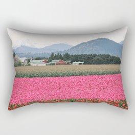 Skagit Valley Tulip Festival Mountains Rectangular Pillow