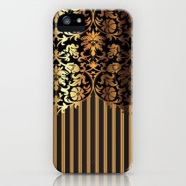 Gold and Black Damask and Stripe Design iPhone Case