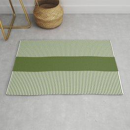 Olive Green & White Stripes Rug