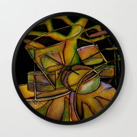 drums Wall Clocks featuring Drums- Rooted Beat by Alexa Brooke Rutledge