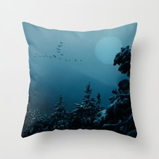 Winter morning in the mountains Throw Pillow