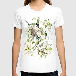 chickadee and dogwood, chickadee art design floral T-shirt