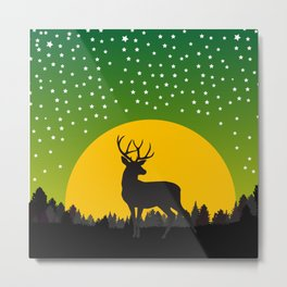Deer Stars Moon Metal Print