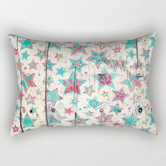 Grunge Stars on Shabby Chic White Painted Wood Rectangular Pillow