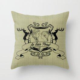 Outlander Je Suis Prest linen Throw Pillow